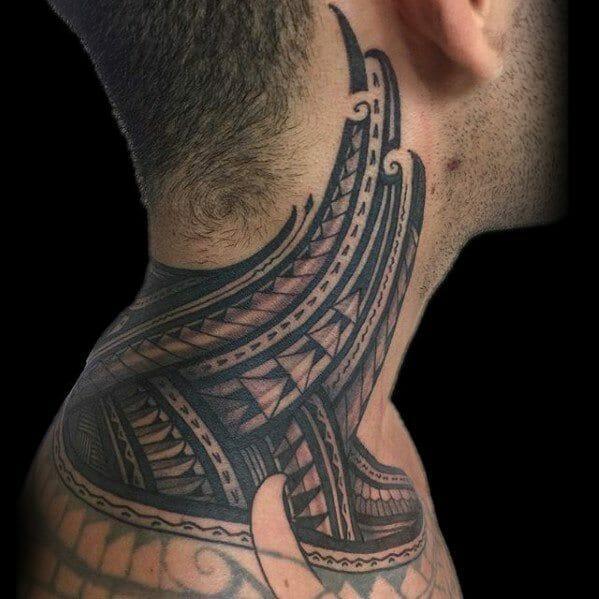 Polynesian Tribal Neck Tattoo