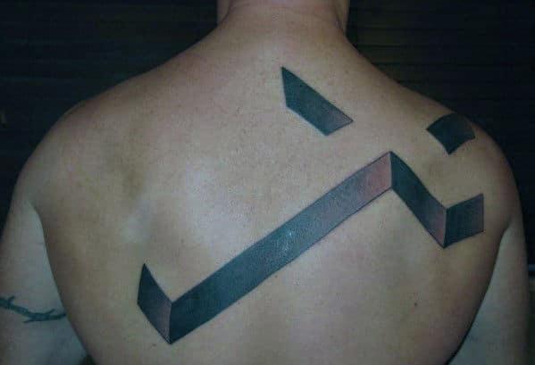 Mens Cross Back Tattoo Idea