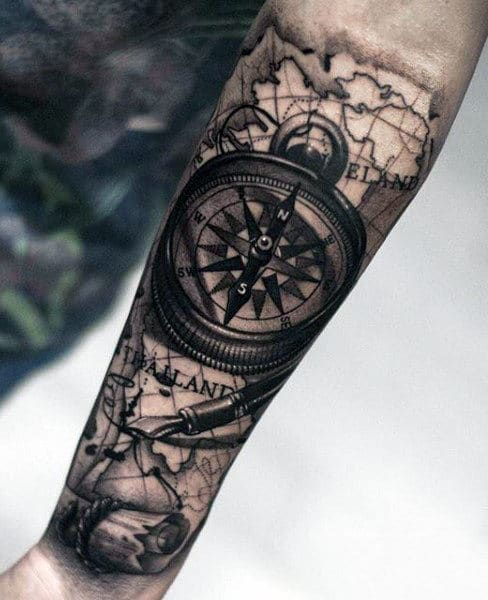Mens Rose Compass Tattoo