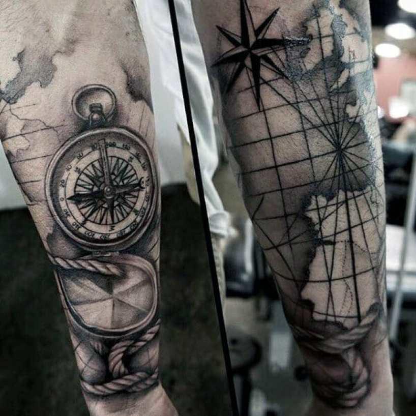 Map Compass Tattoo