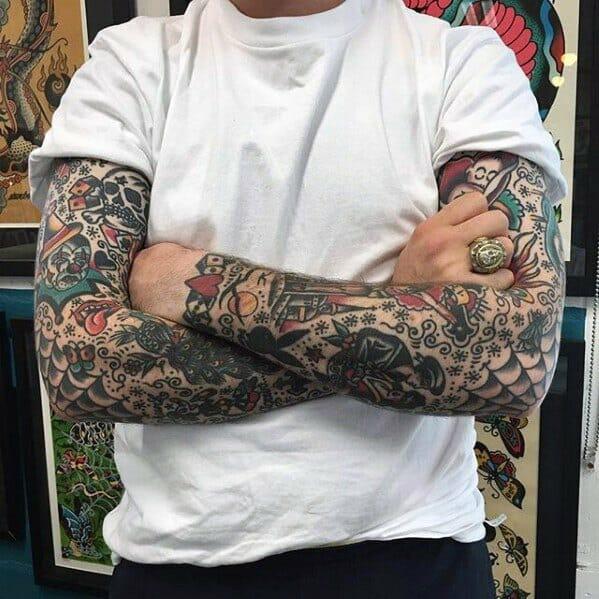 Mens Old School Sleeve Tattoo