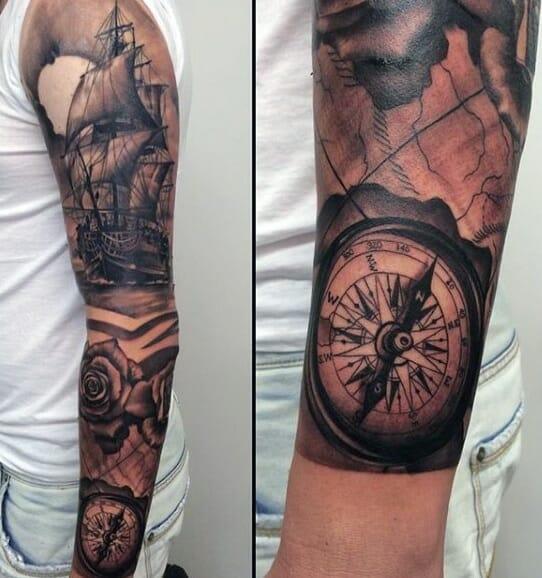 Navy Compass Arm Tattoo
