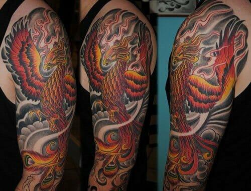 Cool Japanese Phoenix Arm Sleeve Tattoo