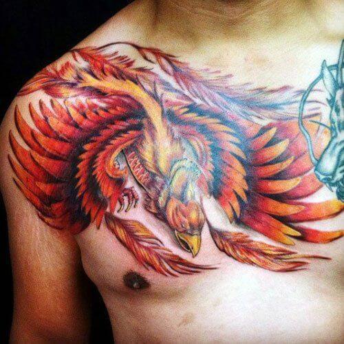 Phoenix Shoulder & Chest Tattoo