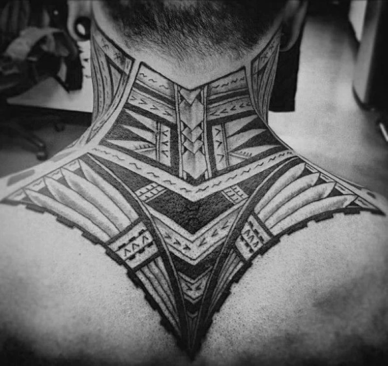 Polynesian Awesome tribal Neck Tattoo