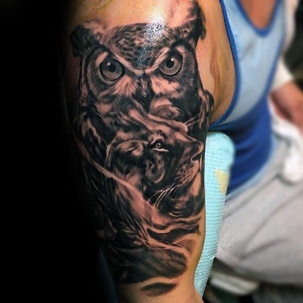 Shaded Realistic Owl Tattoo