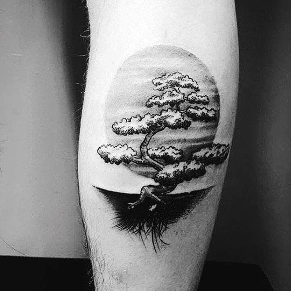 Traditional Tree Leg Tattoo