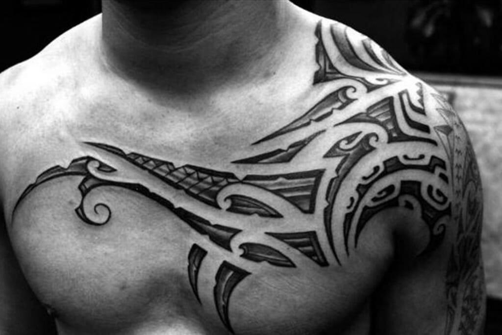 Half Tribal Chest Tattoo