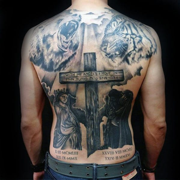 Wooden Cross back Tattoo