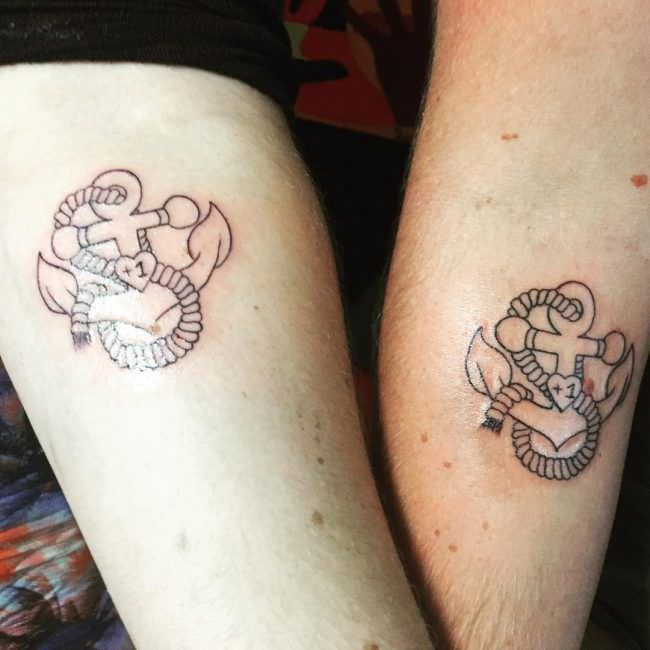 Cool Couples Anchor Tattoos