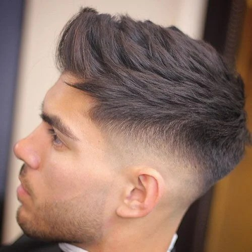 Low Fade with Side Swept Hairstyle