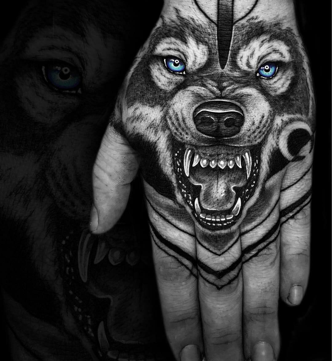 Blue Eyed Wolf Tattoo