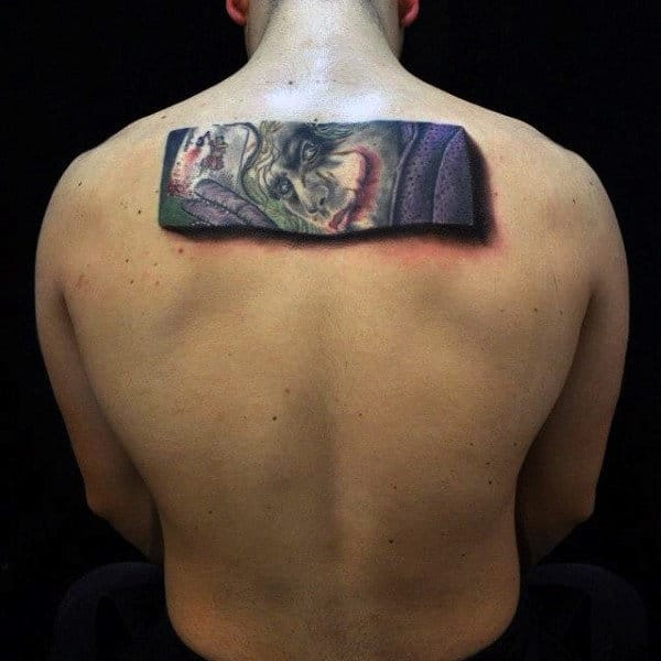 3D Rectangular Joker Upper Back Tattoo