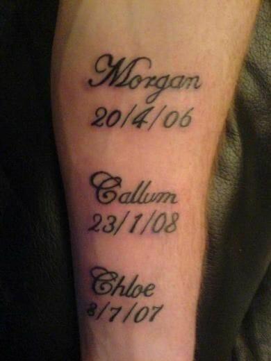 Kids Name & Dates Forearm Tattoo