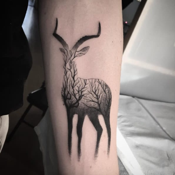 Amazing Deer Arm Tattoo