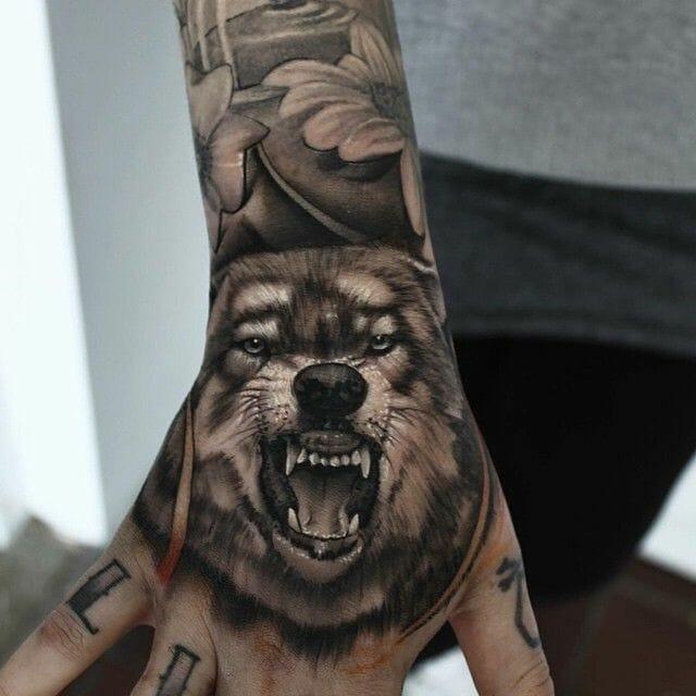 Growling Hand Tattoo
