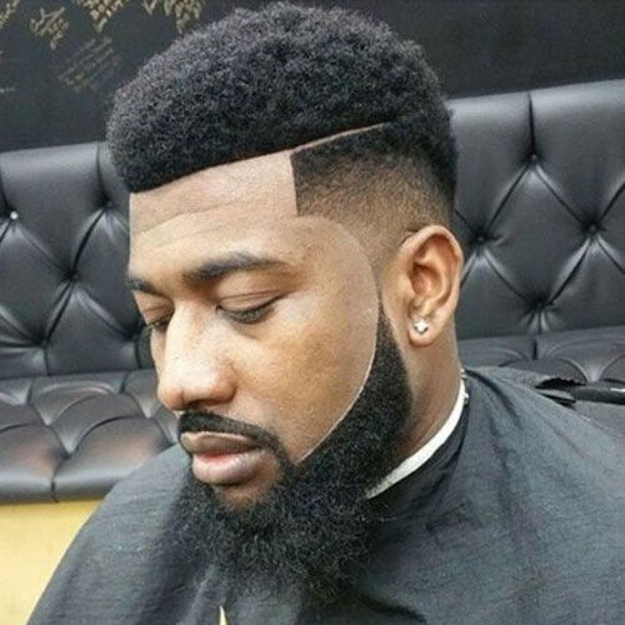 Black Afro with Low Temple Fade and thick Goatee Styled Beard