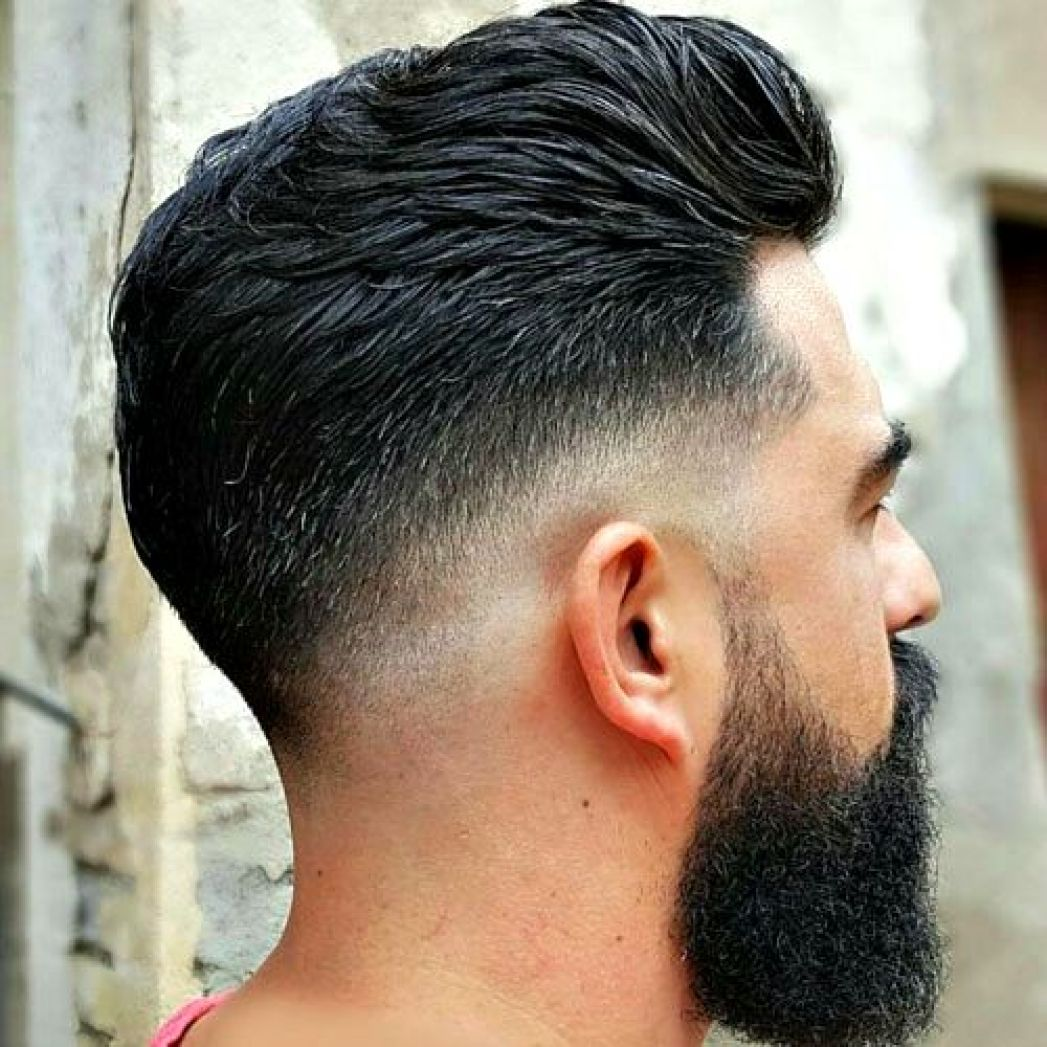 Black Medium Low Fade with Pompadour & Thick Full Beard