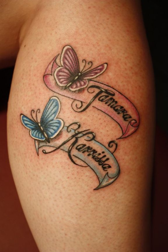 Nice Kids Name Butterfly Tattoo