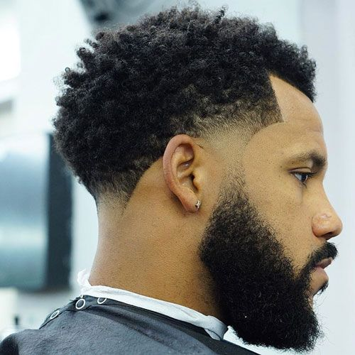 Tight Curls Medium Low Fade & Full Thick Beard
