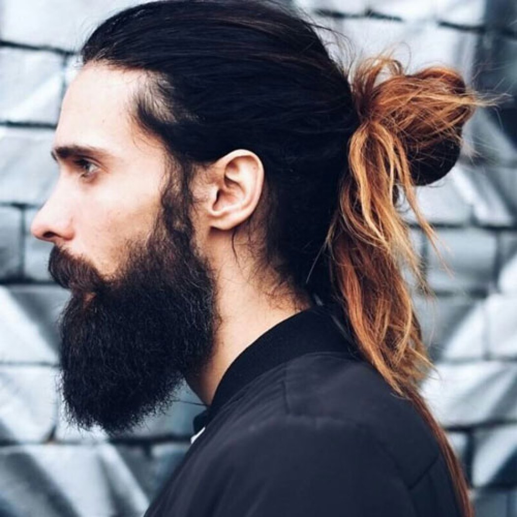 Great Long Man Bun with Highlight