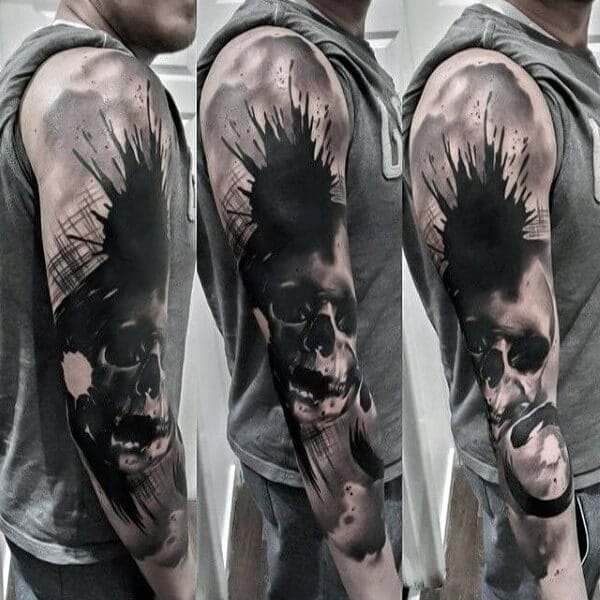 Splash Skull Tattoo
