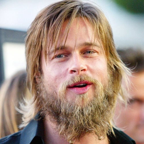 Brad Pitt Medium Messy Hair with Scruff Beard