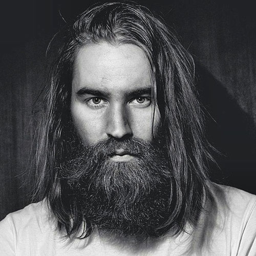 Long Brown Hair With Bandholz Beard
