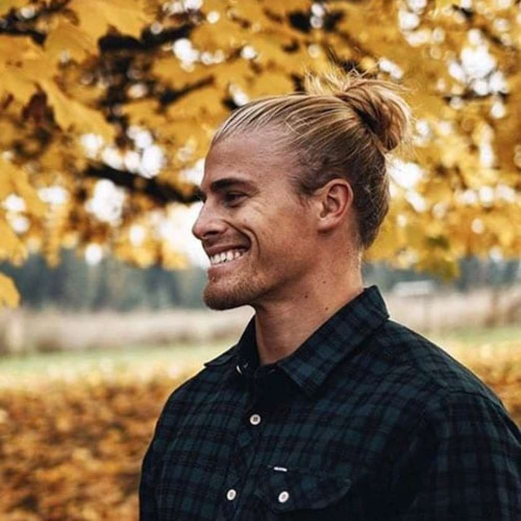 Long Pull Back Blonde Man Bun