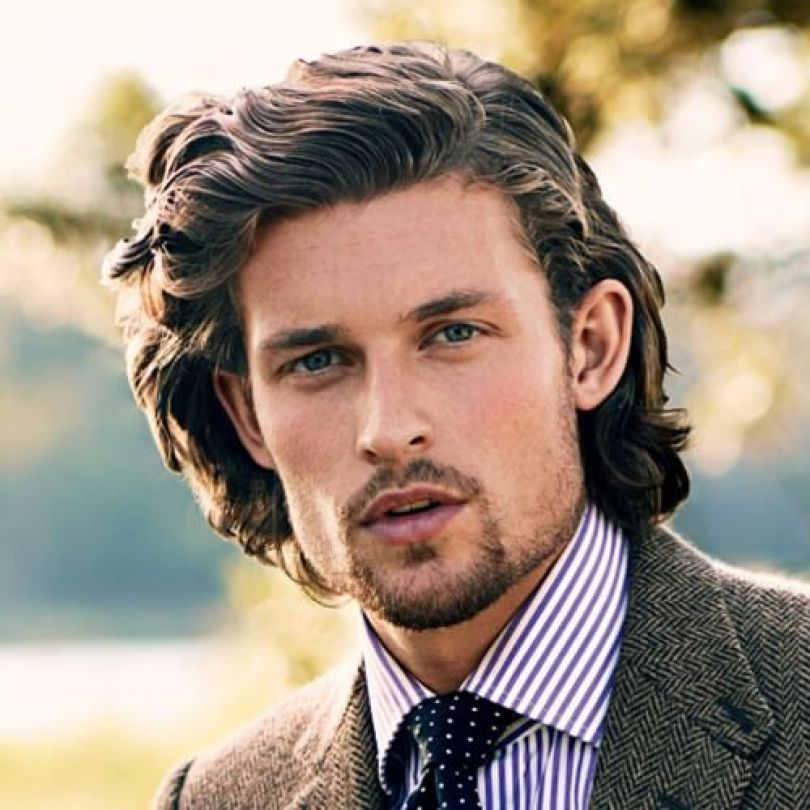 Long Styled Brown Hair with Goatee Beard