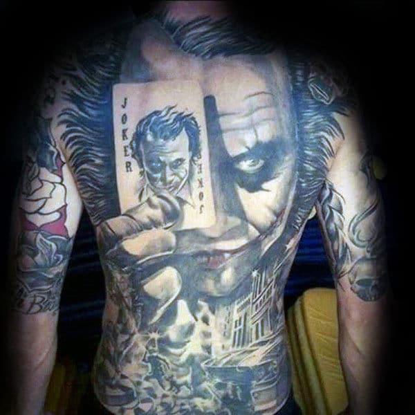 The Joker Full Back Tattoo