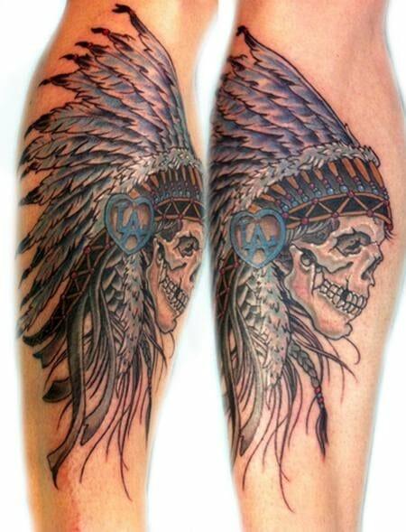 American Indian Skull Tattoo