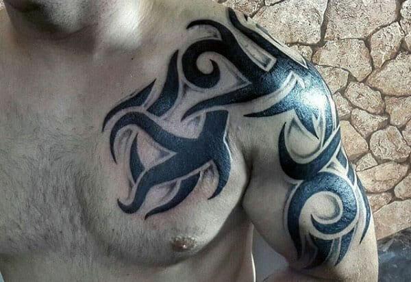 Tribal Arm & Chest Tattoo