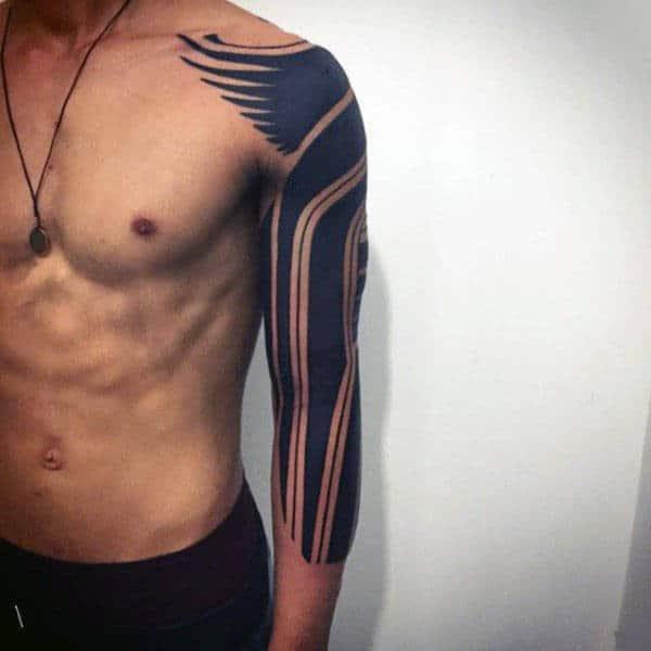 Blackwork Tribal Half Sleeve Tattoo
