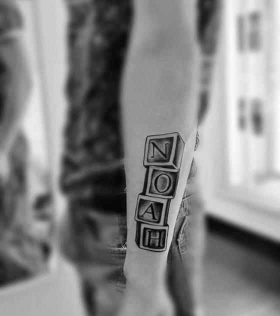 """""""Noah"""" Blocks Kids Name Forearm Tattoo"""