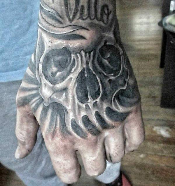 Skull Shaded Hand Tattoo