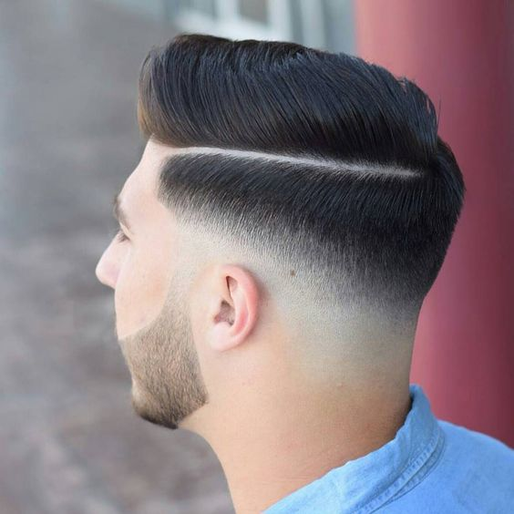 Side Slicked Hair with Part & Low Fade