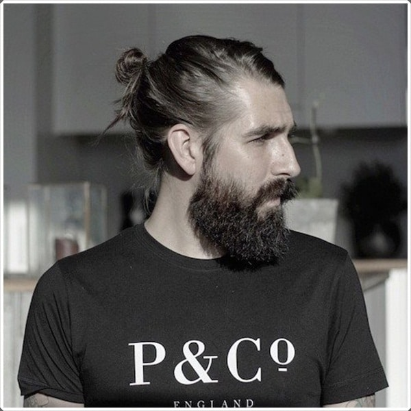 Medium Length Brown Ponytail with Full Beard