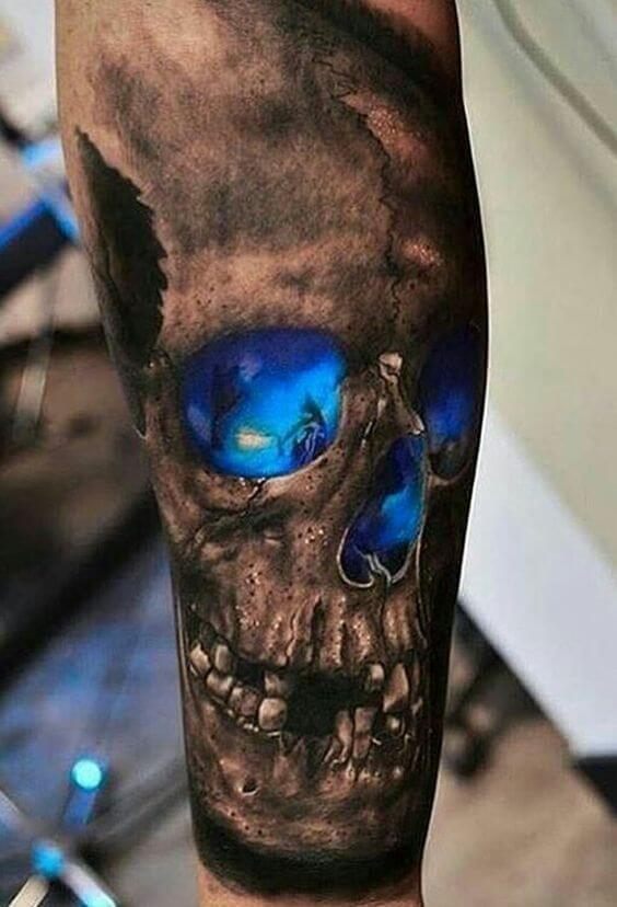 Blue Glowing Skull