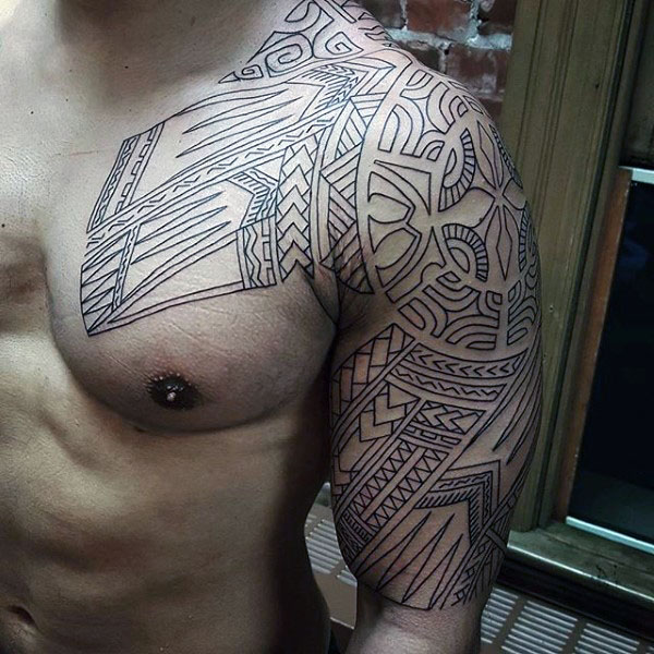 Black Ink Outline Tribal Upper Arm & Shoulder Tattoo