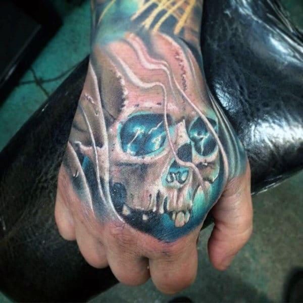 Glowing Hand Skull Tattoo