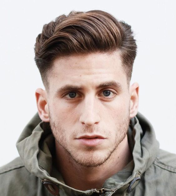 Layered Side Swept Hair & Low Fade