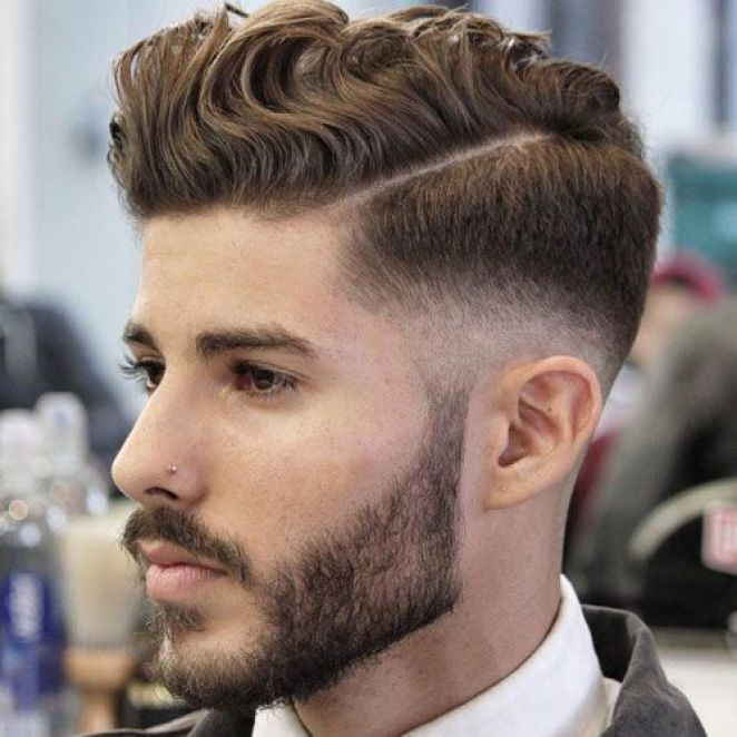 Textured Medium Hairstyle with Parting & Styled Full Beard