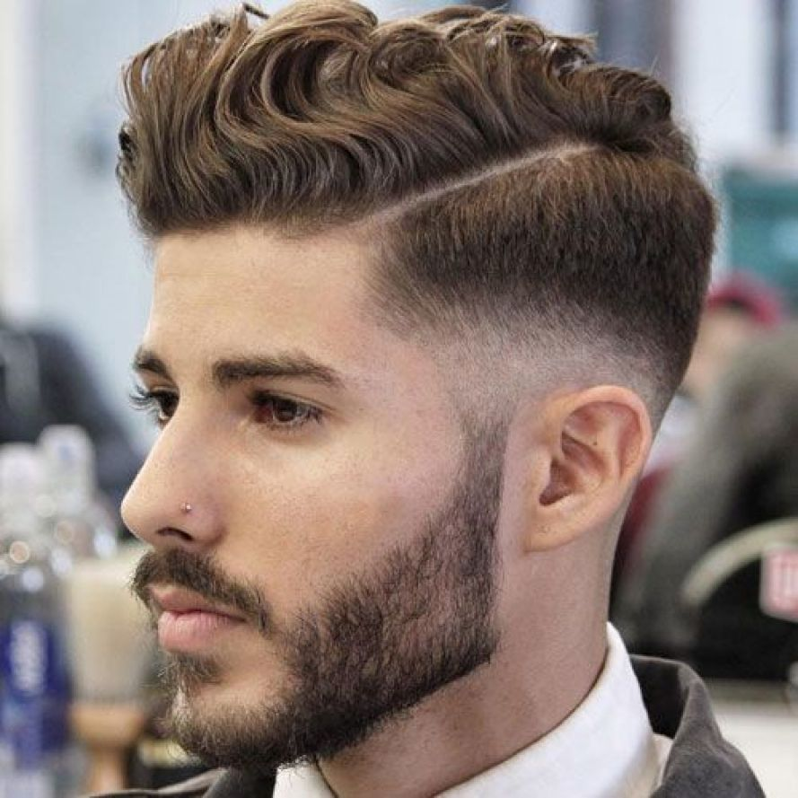 Textured Hairstyle with Parting & Low Fade
