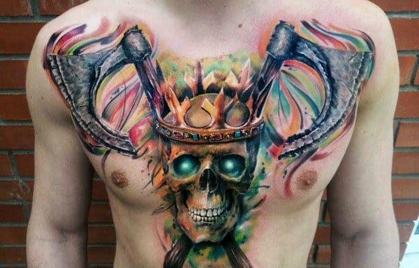 Colourful Axe Skull