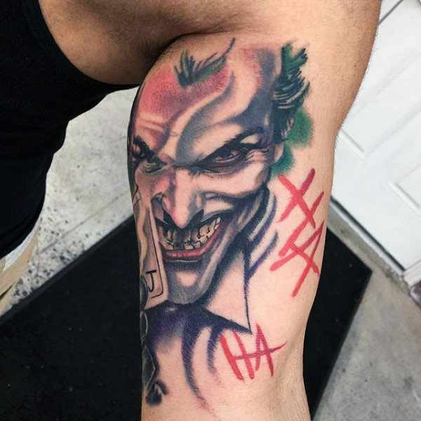 Inner Bicep Joker Tattoo