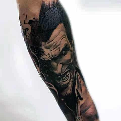 cool the joker forearm sleeve tattoo