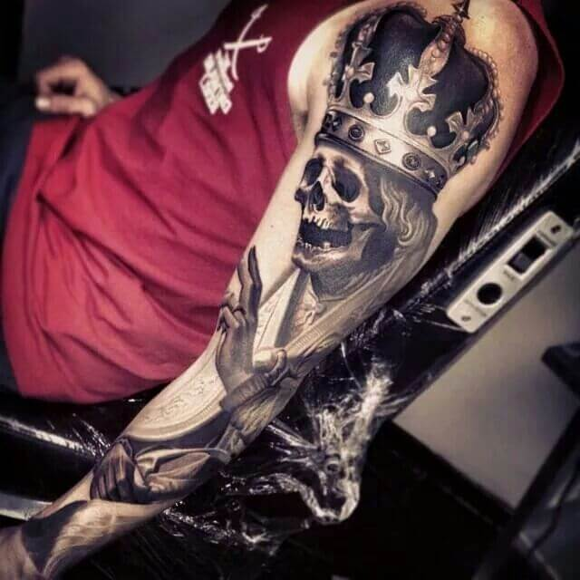 a68d91123 101 Skull tattoo designs for men - sleeve, hand, Native American all ...
