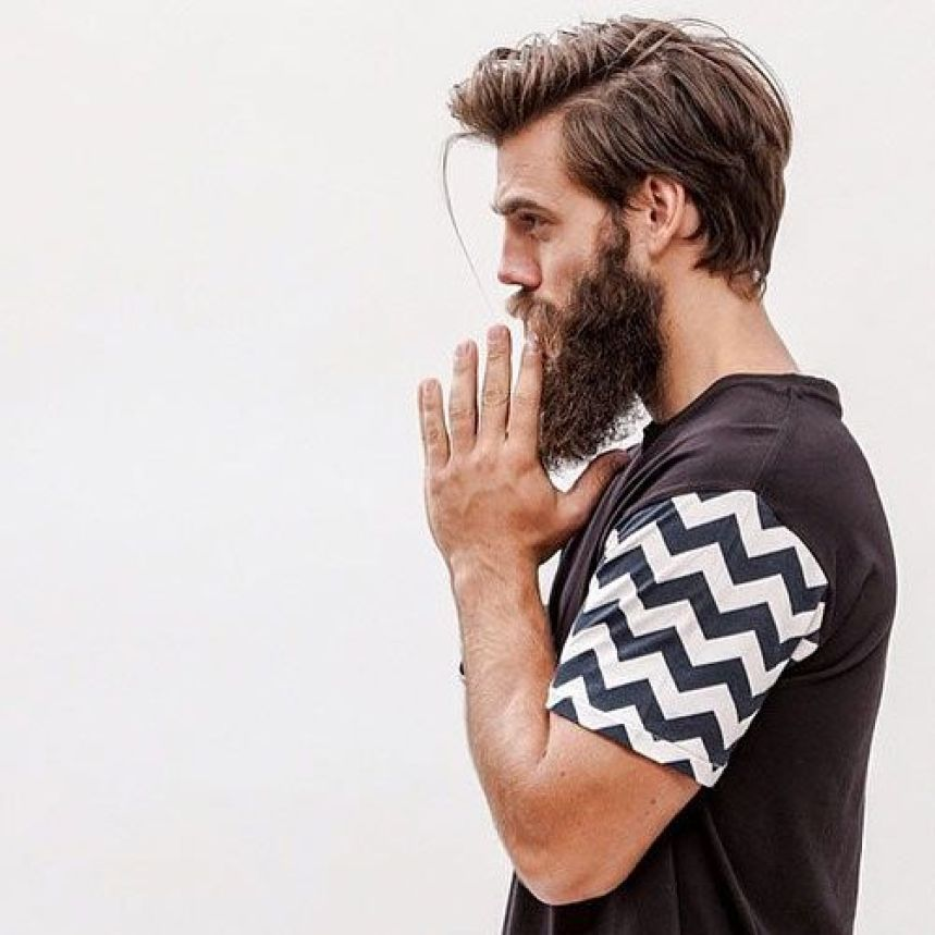 Medium Length Hair with Side Part And Long Thick Full Beard