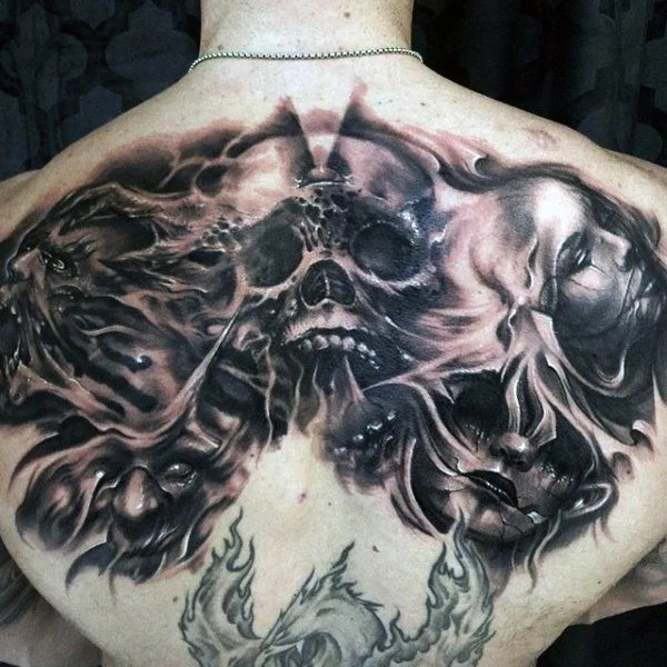 Skull Demon Back Tattoo